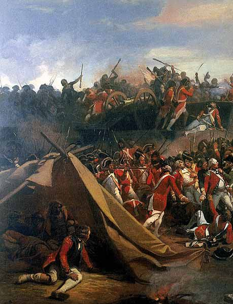 The Americans storming the redoubts on 14th October 1781 during the Battle of Yorktown in the American Revolutionary War