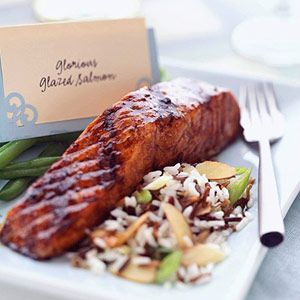 As the salmon grills, the tamari sauce and balsamic vinegar glaze  caramelizes on the fish, adding color and flavor to the final dish.: Glaze Salmon, Grilled Salmon, Balsamic Vinegar, Yummy Food, Healthy Eating, Tamari Sauces, Cooking Tips, Salmon Recipes, Glazed Salmon