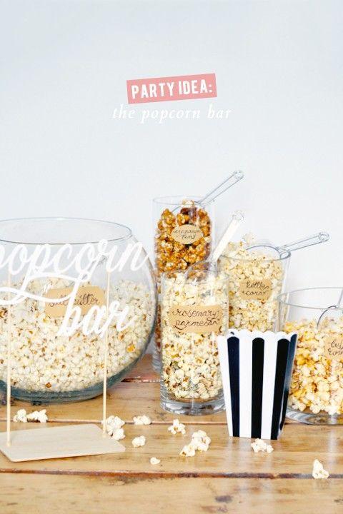 DIY Popcorn bar. Cute, easy, inexpensive party idea!