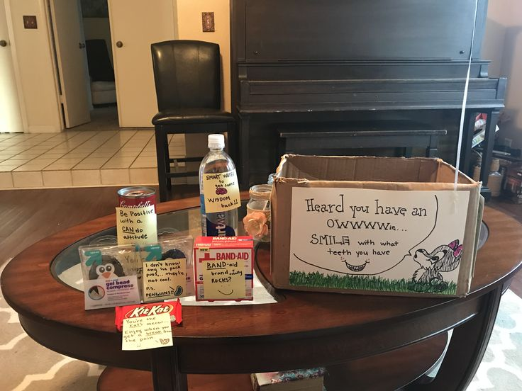 My boyfriend got his wisdom teeth pulled. So I made him this care package.