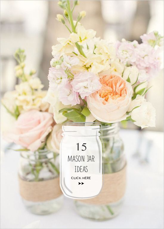 I love the mason jar idea for center pieces. Rustic.