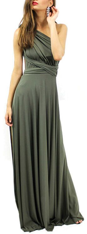 Olive Convertible Maxi Gown ❤︎ Love the dress, but would be beautiful in a taupe, tan, or light sage green!