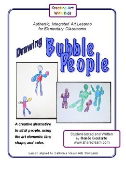 FREE direct-drawing activity packet on drawing bubble people. Uses line, shape, and color.
