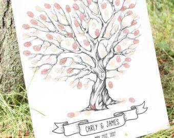 Alternativa de libro de huéspedes de la boda árbol de huellas