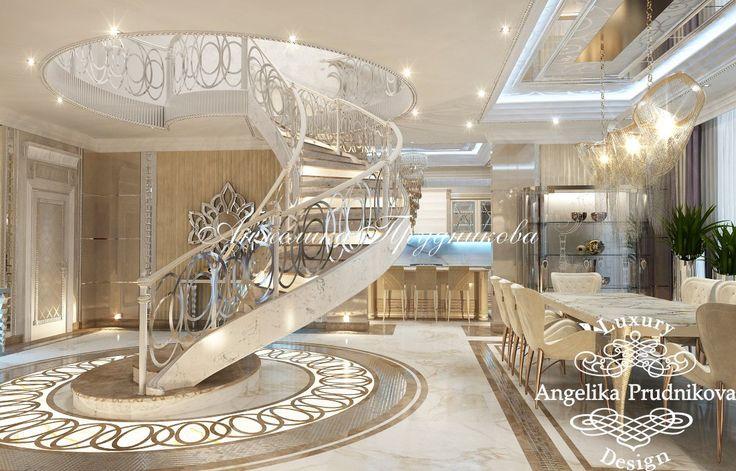 Дизайн проект интерьера гостиной в стиле Ар Деков пентхаусе Попов проезд - фото