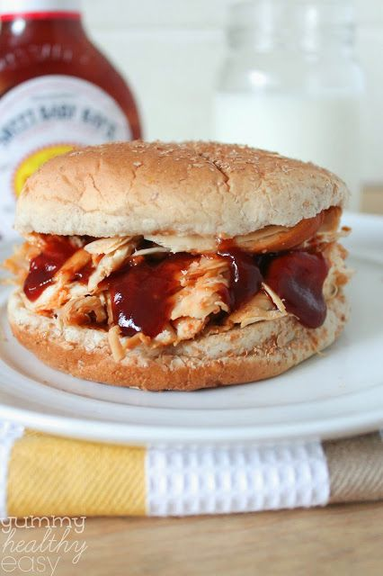 Slow Cooker BBQ Shredded Chicken Sandwiches (only 3 ingredients!)