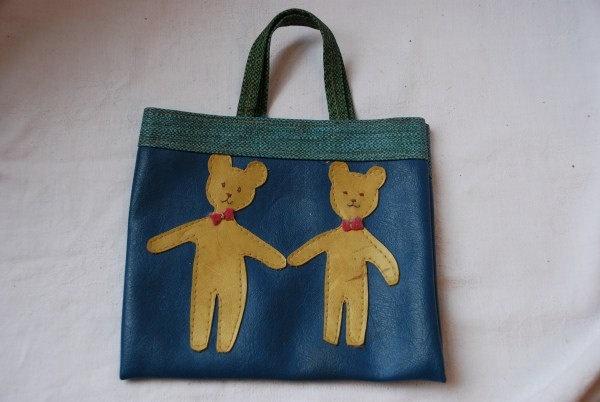 Vintage Handmade Childrens Vinyl Tote Bag Purse 1950's