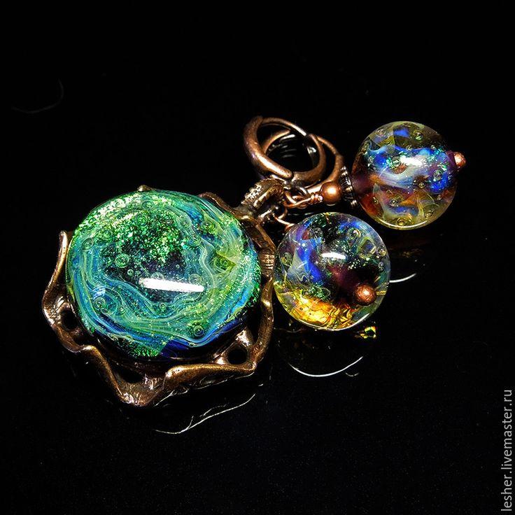 Купить Капля росы - кулон и серьги лэмпворк - разноцветный, лэмпворк, кулон лэмпворк, серьги лэмпворк