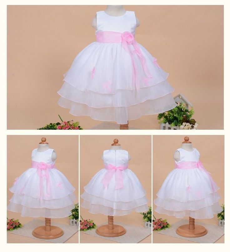 Robe de baptême bébé fille- robe princesse sans manche avec ceinture rose claire in Bébé, puériculture, Vêtements, accessoires, Vêtements de baptême | eBay