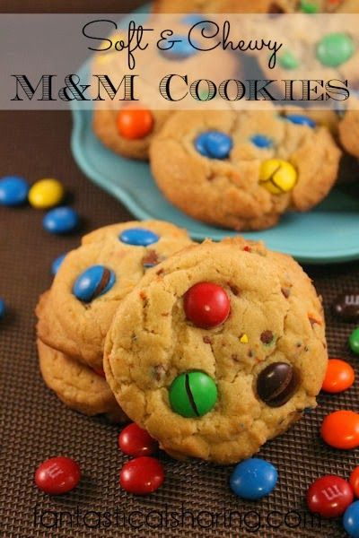 Soft & Chewy M&M Cookies | Perfectly soft, perfectly chewy and packed with M&Ms #cookies