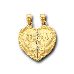 14K Solid Yellow Gold Te Amo Heart Split Charm Pendant IceNGold. $174.95. Save 63%!