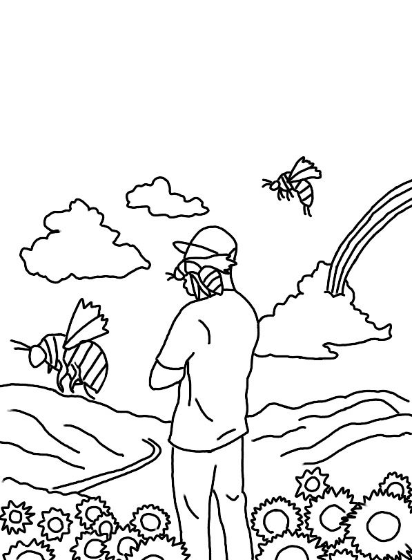 Tylerthecreator Coloringpages Coloring Printable Floral Rainbow Line Art Drawings Harry Styles Drawing Mini Canvas Art