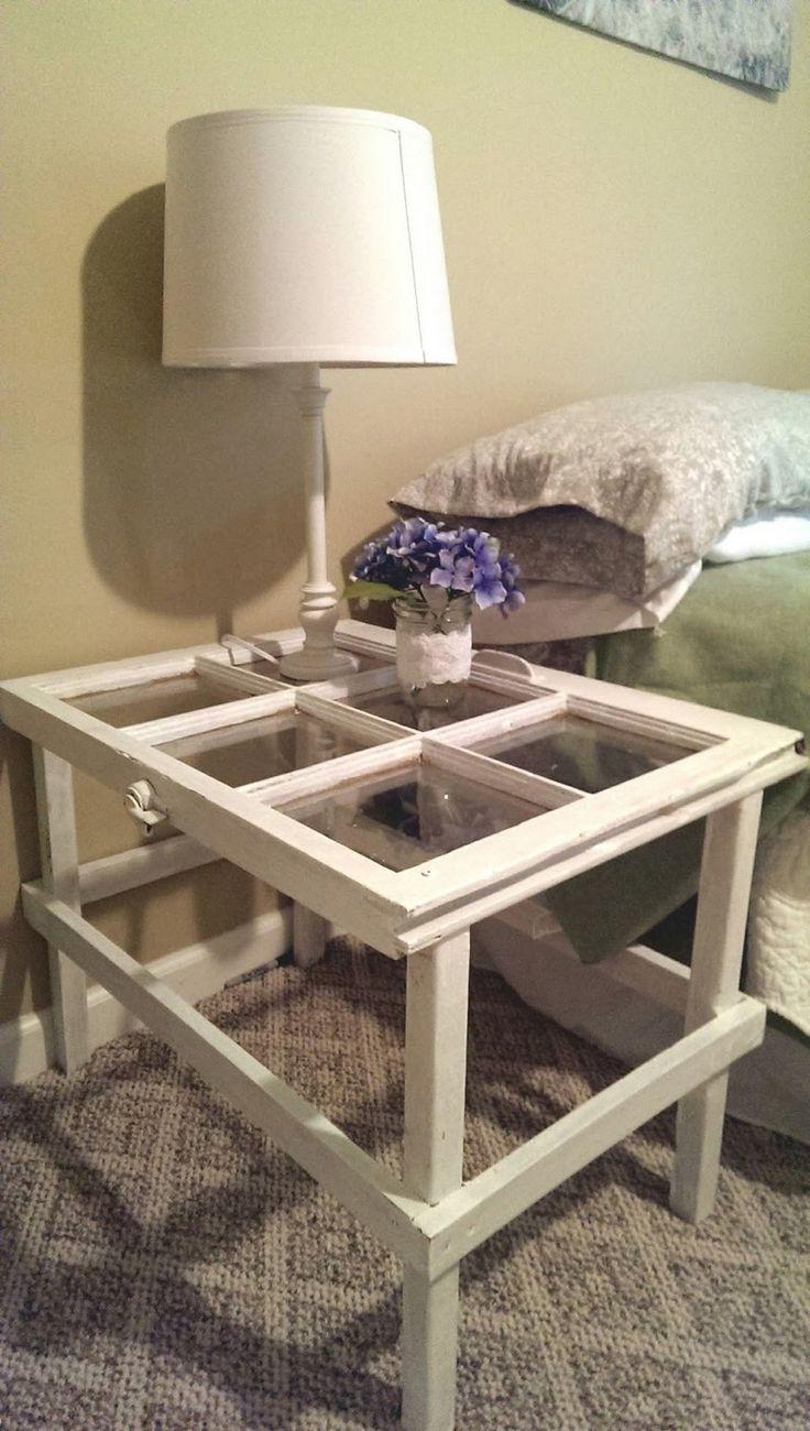 Repurposed Window Ideas- Bedside Table