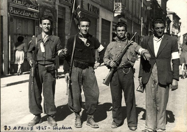Italian partisans in Modena April, 23 1945. Italy was offically liberated April 25, 1945