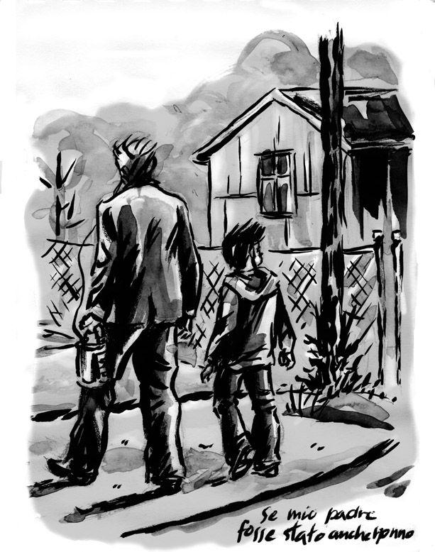Rinaldo e Zeno. La storia di un vecchio maestro di fisarmonica affetto da enfisema e un suo giovane allievo che lo accompagna a vedere il mare. China e acquerello su carta. 2007