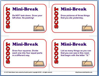 Classroom Freebies: Scoot Mini-Break Task Cards...For Using When You Have More Kids than Cards