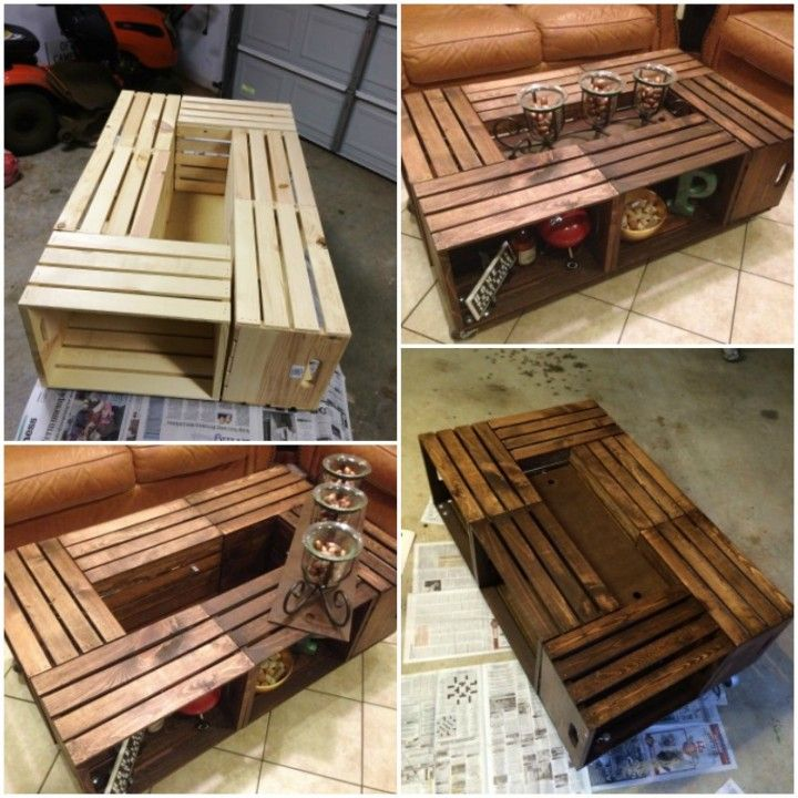 25 best crate coffee tables ideas on pinterest wine for Coffee table made out of wooden crates