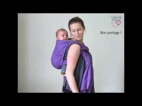 écharpe de portage : kangourou dos spécial petit bébé - asymétrique sac à dos sans nœud - YouTube