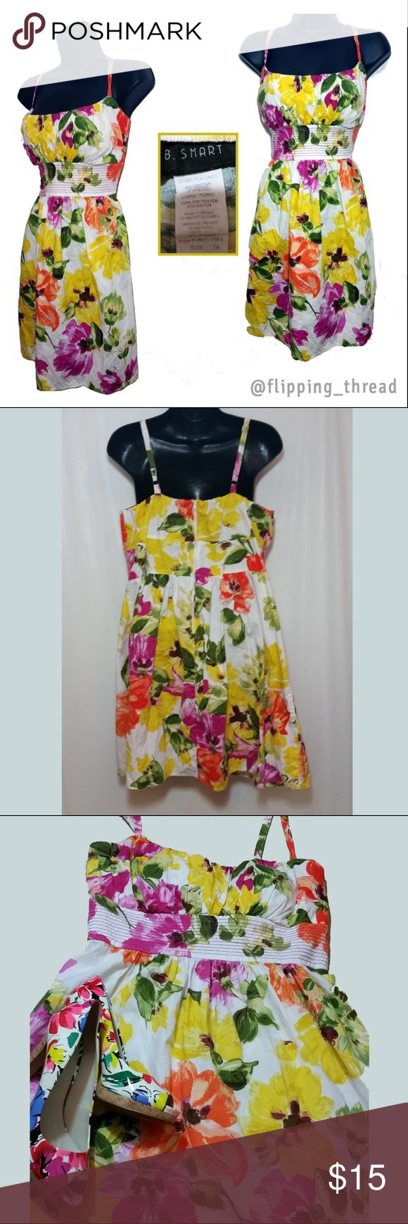 B. Smart Floral Empire Waist Dress Excellent Condition.  Bust: 43 in Waist: 31 in Hips: 41 in Length: 27 in B. Smart Dresses Mini