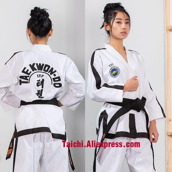 56.99$  Buy here - Martial Arts TKD Tae Kwon Do Korea V-neck Adult & Children Taekwondo Dobok ,WTF Uniform,white 160-190cm    #buyonlinewebsite