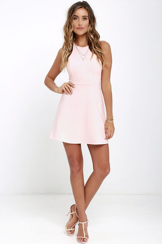Soft Strumming Light Pink A-Line Dress at Lulus.com!