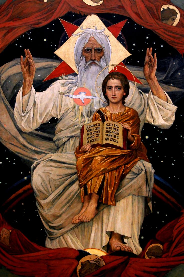 O my God, I firmly believe that you are one God in three divine Persons, Father, Son and Holy Spirit; I believe that your divine Son became man and died for our sins, and that he shall come to judge the living and the dead.  Viktor Vasnetsov - Fatherhood (Detail); State Tretyakov Gallery, Moscow, Russia; 1907