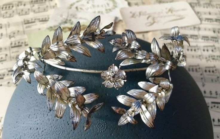Vintage silver wedding crown, 1930s, German Myrtle, Boho headpiece, rustic wedding, hair accessories, hair wreath, bridal tiara,   by BettyBigDay on Etsy https://www.etsy.com/listing/493519688/vintage-silver-wedding-crown-1930s