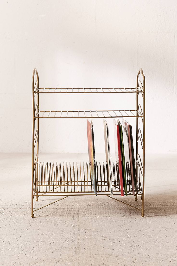 Urban Outfitters | Vinyl Record Storage Shelf | Gold