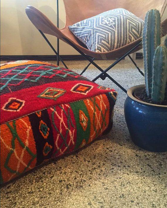 PUF marroquí de venta kilim hechos a mano y único poef, osmane, puff, otomano, taburete del pie, floorpillow