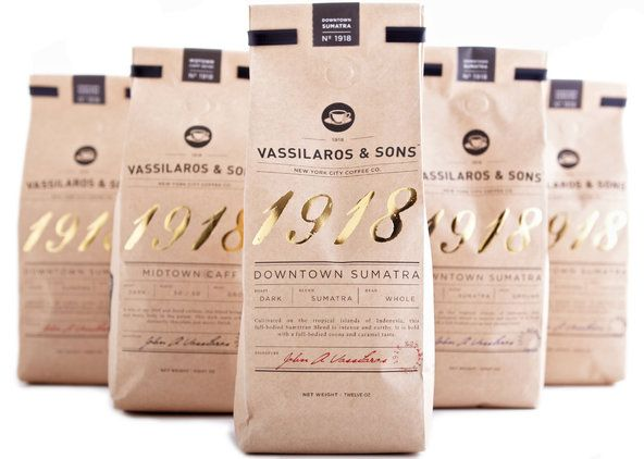 Coffee packaging with gold lettering