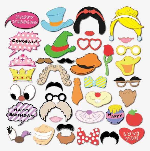 38 Teile/satz DIY hochzeit cartoon bilder requisiten, bögen, lippen, bart, gläser fotografiert requisiten, geburtstag partei foto requisiten