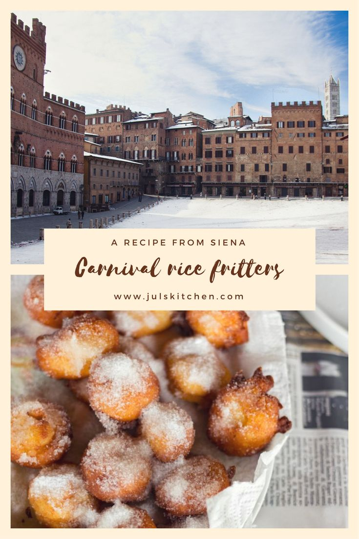 Italian rice fritters typical of the Carnival time, made with rice, milk and lemon zest, deliciously coated with sugar. #Italianrecipe #tuscanfood #carnival #fritters