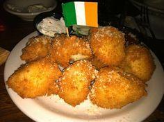 IRISH BOXTYS  McGuire's Irish Pub Restaurant Copycat Recipe   16 ounces garlic mashed potatoes  1 egg, beaten  1 cup seasoned bread crumb...