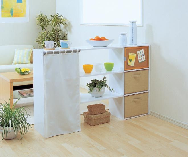 color box as a room divider