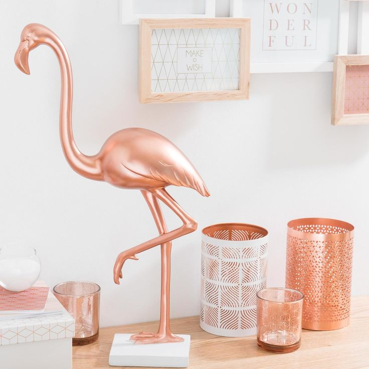 Statue flamant rose H 48 cm MODERN ...