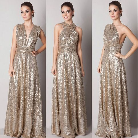 Gold Sequined Convertible Bridesmaid Dress in V-neck, Halter, One Shoulder, Sexy Bridesmaid Dresses, Crisscross Back Bridesmaid Dress, #01012791 on Storenvy