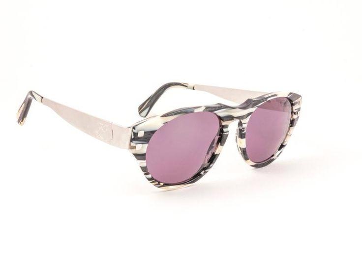 Vintage Karl Lagerfeld Marble Black & White 4602 1980 Germany Sunglasses