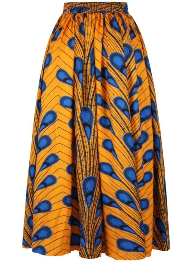 Attractive Printed Elastic Waist Flared Maxi Skirt