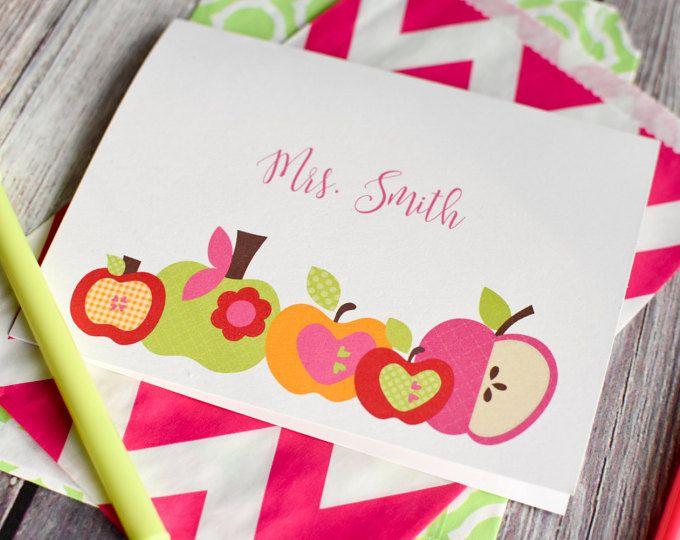 Papelería personalizada del profesor / personalizada estacionario / personalizada Nota tarjetas / Set de papelería - manzana para el profesor diseño papelería