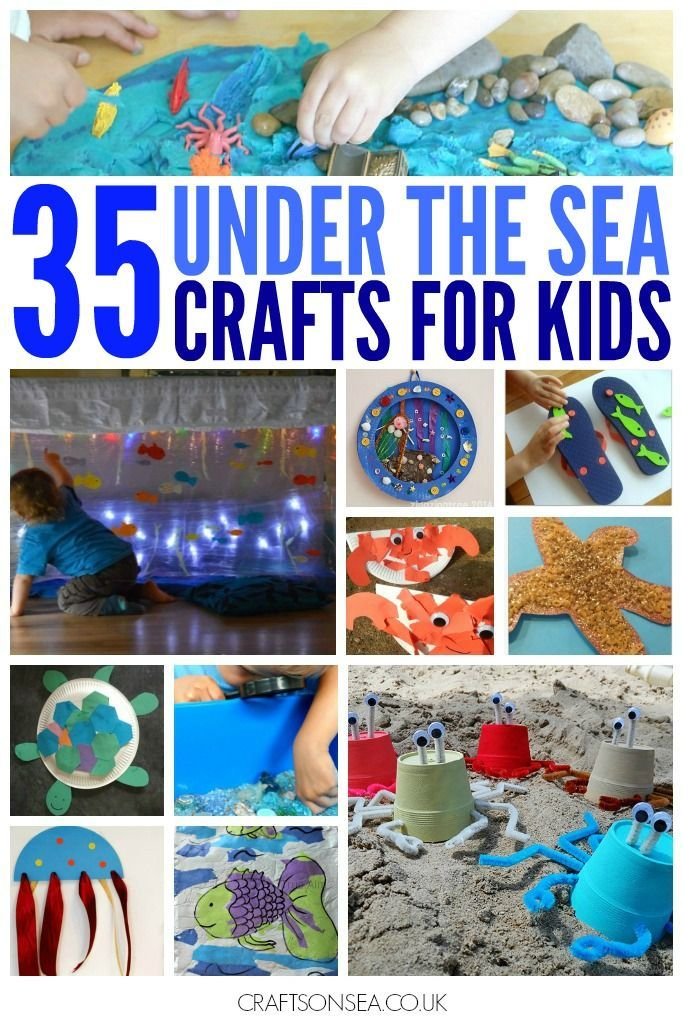 35 inspirational under the sea crafts for kids. Includes sensory play, shark crafts, fish crafts, mermaids, crabs, dolphins and loads more!