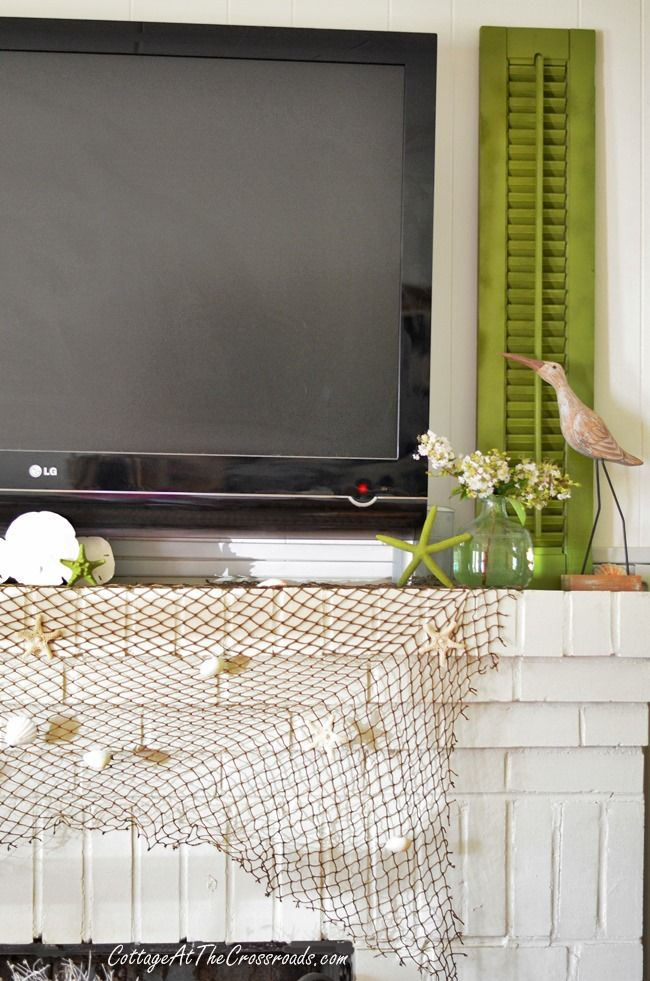 Using Shutters to Decorate around a Flat Screen TV - Cottage at the Crossroads