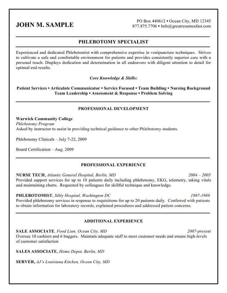 7 best Resume help images on Pinterest Sample resume, Resume - phlebotomist resume example