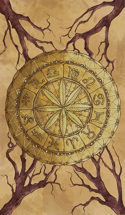 Astrological wheel as the Ace of Pentacles - But I think it works much better as the wheel of fortune.