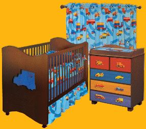 Set includes Crib / toddler bed, crib bedding set, five drawer chest with changing table tray, changing pad cover and window panels. -Crib bedding set includes bumper, solid crib sheet, crib comforter and gathered print crib skirt. -Crib / toddler bed is made of solid hardwood and veneers. -Five drawer changing table is made of solid hard wood. -Bedding set is made of 100pct cotton. -2-in-1 crib has truck shaped colored plexi-glass window in the headboards and can be converted to a toddler…