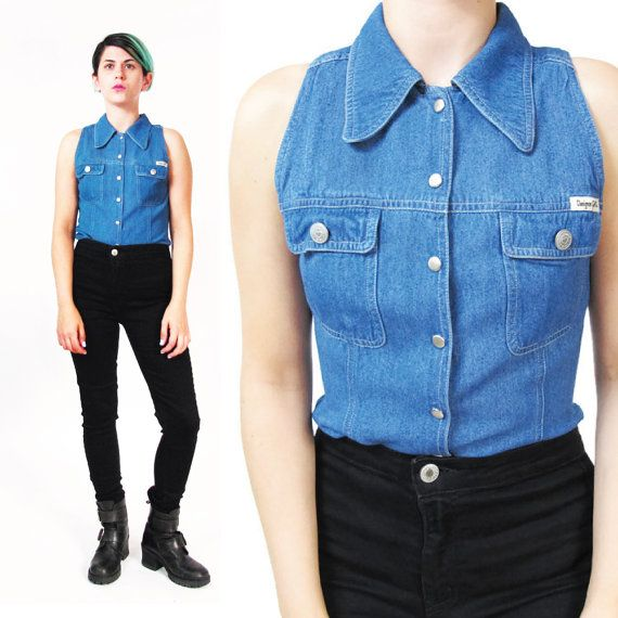 90s Sleeveless Denim Shirt Womens Soft Denim Button Down Shirt Denim Tank Top Pointy Collar Blue Jean Shirt Chest Pockets Fitted Top (XS/S)