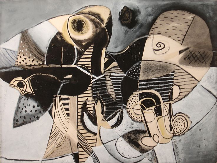 """Jack Shadbolt, """"Untitled"""", 1953, watercolour, pastel and ink on paper, 19 3/4 x…"""