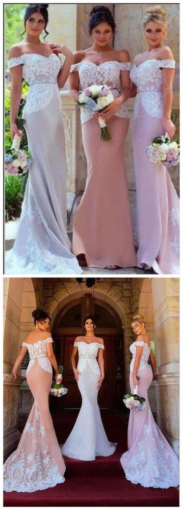 Off Shoulder Lace Appliques Mermaid Sweetheart Custom Cheap Most Popular New Arrival Formal Elegant Charming Bridesmaid Dresses
