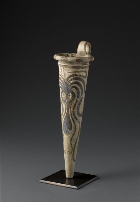Rhyton décoré d'un poulpe, 13e-14e siècle av J.-C.. Epoque créto-mycénienne (1450-1100 av J.-C. - Minoen récent