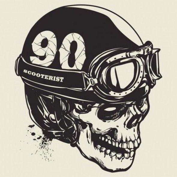 Hand Drawing Of Skull Wearing Vintage Motorcycle Helmet Premium Vector In 2020 Skulls Drawing Line Art Drawings Motorcycle Drawing