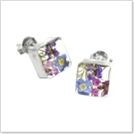 Silver Stud Earrings - Mixed flower - Square. A beautiful & cute set of square shaped earrings with a selection of delicate and colourful little flowers inside.  £15.99. Each earring size excluding wire (approx) 10 x 10 mm. Price includes a FREE Gift box! The perfect gift for a friend or loved one, or why not treat yourself? A thoughtful gift for Birthdays, Friendships, Anniversaries and lots of other special occasions. Also great as a stocking filler for Christmas…